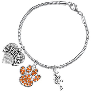 Wrestling Jewelry, Orange Crystal Paw Jewelry, ©2015 Hypoallergenic Safe - Nickel & Lead Free!