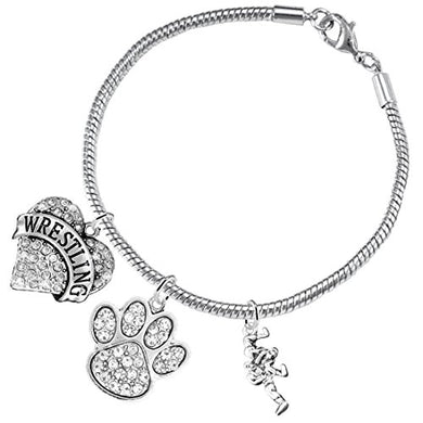 Wrestling Jewelry, Clear Crystal Paw Jewelry, ©2015 Hypoallergenic Safe - Nickel & Lead Free!