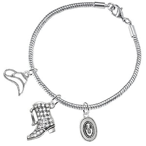 "Drill Team Jewelry, ""Cute Looking 3 Charm Bracelet"" ©2016 Safe - Nickel & Lead Free"