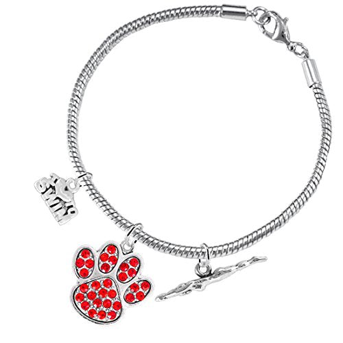 Swimming 3 Charm Red Crystal Paw Bracelet ©2016 Hypoallergenic, Safe - Nickel, Lead & Cadmium Free!