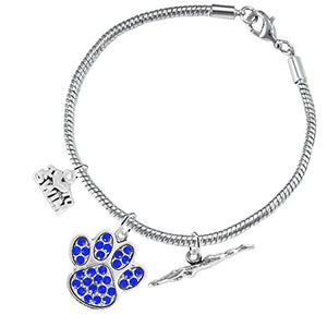 Swimming 3 Charm Blue Crystal Paw Bracelet ©2016 Hypoallergenic, Safe - Nickel, Lead & Cadmium Free