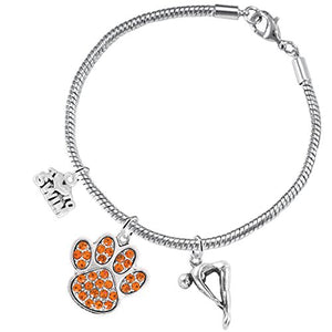 Swimming 3 Charm Orange Crystal Paw Bracelet ©2016 Hypoallergenic, Safe - Nickel & Lead Free