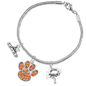 Swimming 3 Charm Orange Crystal Paw Bracelet ©2016 Hypoallergenic, Safe - Nickel & Lead Free!