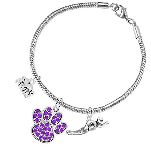 Swimming 3 Charm Purple Crystal Paw Bracelet ©2016 Hypoallergenic, Safe - Nickel & Lead Free!