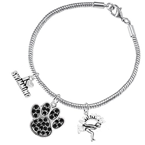 Swimming 3 Charm Black Crystal Paw Bracelet ©2016 Hypoallergenic, Safe - Nickel, Lead & Cadmium Free