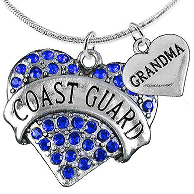 Coast Guard Grandma Heart Necklace, Adjustable, Will NOT Irritate Anyone with Sensitive Skin. Safe