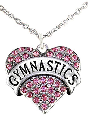 Genuine Crystal Pink Gymnastic Heart Childrens Necklace, Nickel, Lead & Cadmium Free