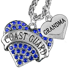 Coast Guard Grandma Necklace Heart Necklace, Will NOT Irritate Anyone with Sensitive Skin. Safe