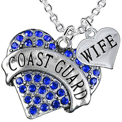 Coast Guard Wife Heart Necklace, Adjustable, Will NOT Irritate Anyone with Sensitive Skin. Safe