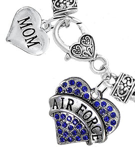 "Air Force ""Mom"" Heart Bracelet, Will NOT Irritate Anyone with Sensitive Skin. Nickel & Lead Free"