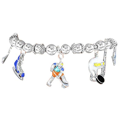 Ice Hockey Charm Stretch Bracelet Adjustable- Hypoallergenic Nickel, Lead & Cadmium Free