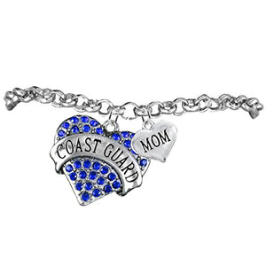 "Coast Guard ""Mom"" Heart Bracelet, Adjustable, Will NOT Irritate Anyone with Sensitive Skin. Safe"