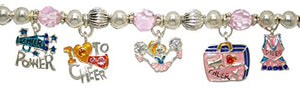 Cheer Power 7 Charm Hypoallergenic Stretch Bracelet