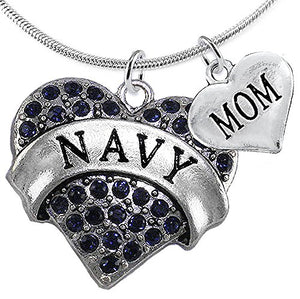 Navy Mom Blue Crystal Heart, Adjustable, Will NOT Irritate Anyone with Sensitive Skin. Safe
