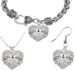 "Navy ""Mom"", Necklace, Earring, and Bracelet Set, Hypoallergenic, Safe - Nickel & Lead Free."