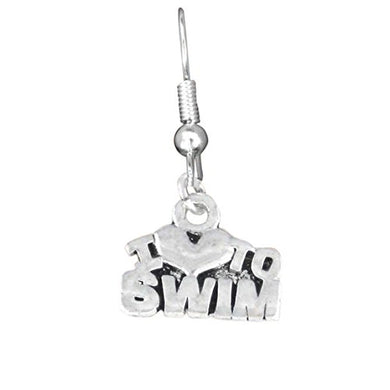 I Love to Swim Charm Fishhook Earrings ©2009 Adjustable Safe - Nickel & Lead Free!