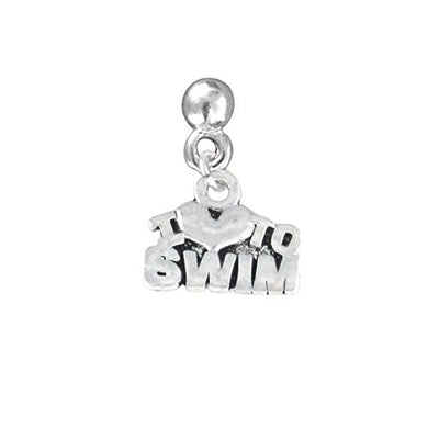 I Love to Swim Charm Post Earrings ©2009 Adjustable Safe - Nickel & Lead Free!