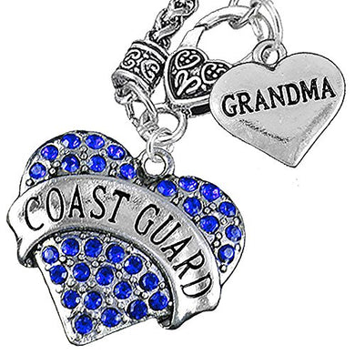 Coast Guard Grandma Heart Necklace, Will NOT Irritate Anyone with Sensitive Skin. Safe - Nickel Free