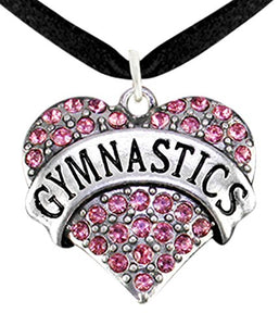 Genuine Crystal Pink Gymnastic Heart Necklace, Adjustable, Nickel, Lead & Cadmium Free