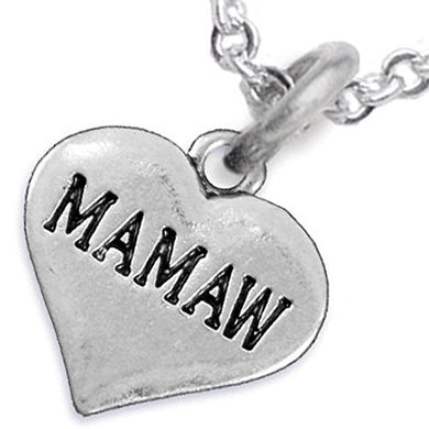 Mamaw Heart Charm Necklace ©2016 Hypoallergenic, Adjustable, Safe, Nickel, Lead & Cadmium Free!