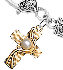 Christian Cross, Two-Tone, Matte Gold Silver, Faux Pearl, Safe - Nickel & Lead Free
