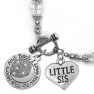 Little Sis, I Love You to The Moon & Back Clear Crystal Charm Bracelet, Safe, Nickel Free.