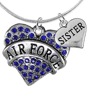 "Air Force ""Sister"" Heart Necklace, Adjustable, Will NOT Irritate Anyone with Sensitive Skin."