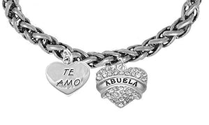 Te Amo Abuela Wheat Chain Bracelet, Hypoallergenic, Safe - Nickel & Lead Free