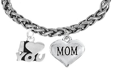 I Love You Mom Wheat Chain Bracelet, Hypoallergenic, Safe - Nickel & Lead Free