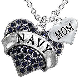 Navy Mom Blue Crystal Heart Necklace, Will NOT Irritate Anyone with Sensitive Skin. Nickel Free