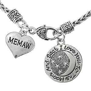 "Mamaw & ""I Love You to The Moon & Back"" Necklace Safe - Nickel, Lead & Free"
