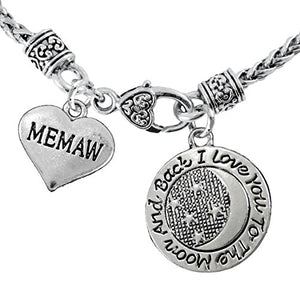 "Memaw ""I Love You to The Moon and Back"" Necklace Hypoallergenic, Safe - Nickel, Lead & Cadmium Free"