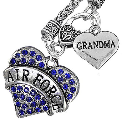 Air Force Grandma Heart Necklace, Will NOT Irritate Anyone with Sensitive Skin. Safe - Nickel Free