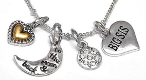 "Big Sis ""I Love You to The Moon & Back"", Adjustable Necklace Set, Will NOT Irritate Sensitive Skin"