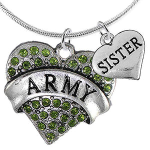 "Army ""Sister"" Heart Necklace, Adjustable, Will NOT Irritate Anyone with Sensitive Skin. Nickel Free"