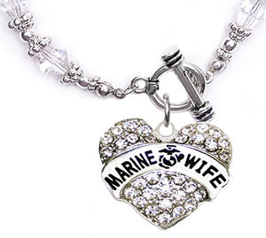 The Perfect Gift Marine Wife Hypoallergenic Toggle Bracelet, Safe - Nickel, Lead & Cadmium Free