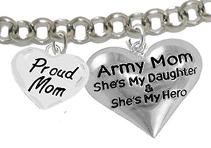 "Army Enlisted ""Daughter"", Proud ""Mom"", My Daughter Is My Hero Bracelet, Adjustable Bracelet, Safe"