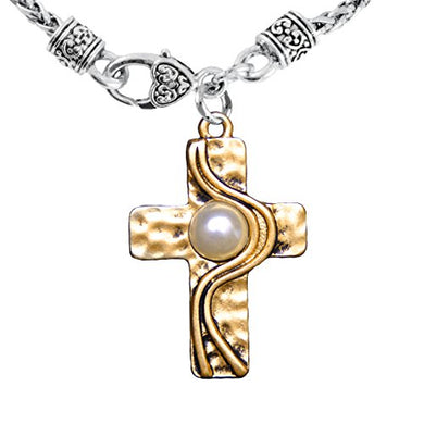 Christian Cross, Two-Tone, Matte Gold & Silver, Faux Pearl Necklace Safe - Nickel & Lead Free
