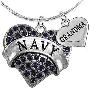 Navy Grandma Blue Crystal Heart Necklace, Adjustable, Will NOT Irritate Anyone with Sensitive Skin.