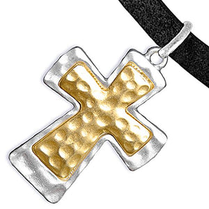 Cross Christian Two-Tone Charms on Bracelet Adjustable, Safe - Nickel, Lead & Cadmium Free