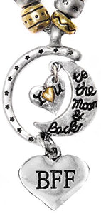 "BFF ""I Love You to The Moon & Back"", Adjustable Necklace Set, Safe, Nickel Free."