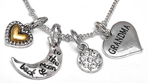 "Grandma ""I Love You to The Moon & Back"", Adjustable Necklace Set, Will NOT Irritate Sensitive Skin"