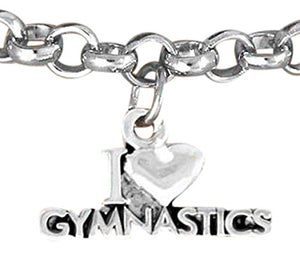 I Love Gymnastics Bracelet Adjustable, Hypoallergenic, Safe, Nickel, Lead & Cadmium Free