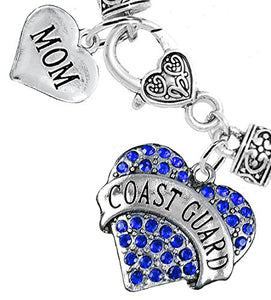 "Coast Guard ""Mom"" Heart Bracelet, Will NOT Irritate Anyone with Sensitive Skin. Safe - Nickel Free"