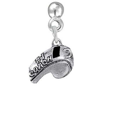 #1 Coach Whistle Charm Post Earrings ©2009 Hypoallergenic, Safe - Nickel, Lead & Cadmium Free!