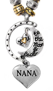 "Nana ""I Love You to The Moon & Back"", Adjustable Necklace Set, WON'T Irritate Sensitive Skin. Safe"