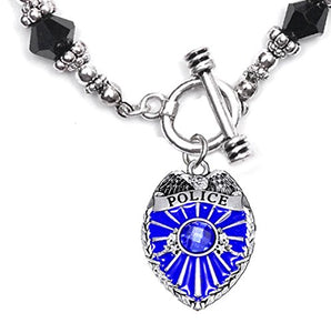 Perfect Gift, Policeman Badge Black Crystal Bracelet Hypoallergenic Safe - Nickel & Lead Free,