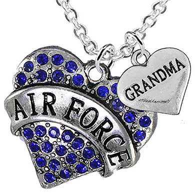 Air Force Grandma Heart Necklace, Adjustable, Will NOT Irritate Anyone with Sensitive Skin.