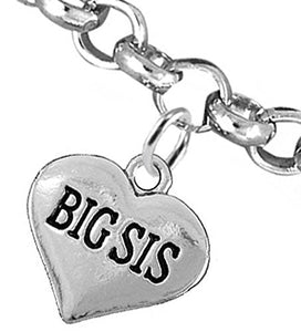 Big Sis Heart Charm Bracelet ©2016 Hypoallergenic, Adjustable, Safe, Nickel, Lead & Cadmium Free!