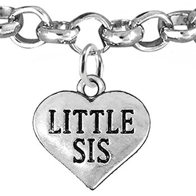Little Sis Heart Charm Bracelet ©2016 Adjustable, Safe, Nickel & Lead Free!